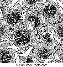 Decorative seamless floral pattern with flowers of peony