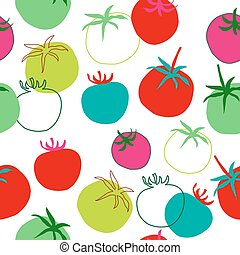 Decorative seamless pattern of tomatoes on white background