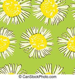 Decorative seamless pattern watercolor flower chamomile