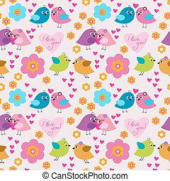 Decorative seamless pattern with birds in love