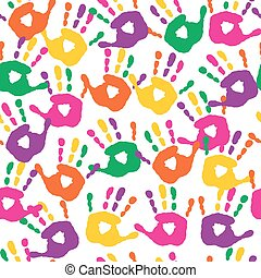 Decorative seamless pattern with handprints