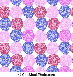 Decorative seamless pattern with roses on a white background