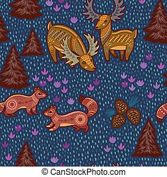 Decorative seamless pattern with wild animals from National...