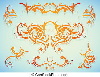 Decorative shapes - Set of decorative shapes created in...