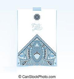 decorative sheet of paper with blue colour oriental floral desig