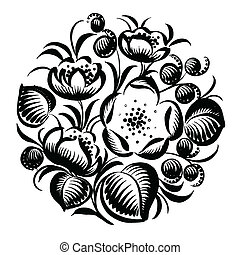 decorative silhouette floral circle - vector, artistic,...