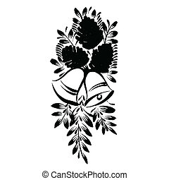 decorative silhouette of pine cone - vector, artistic,...