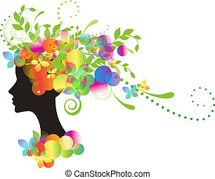 Decorative silhouette of woman with flowers