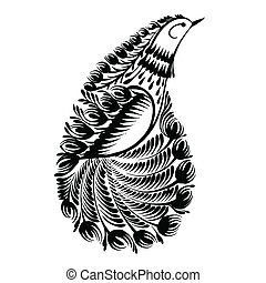 decorative silhouette paisley bird of paradise