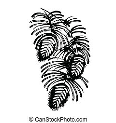 decorative silhouette pine cone with pine needles - vector, ...