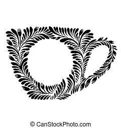 decorative silhouette teacup - vector, artistic, decorative...