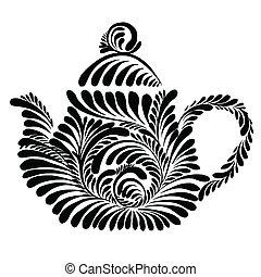 decorative silhouette teapot - vector, artistic, decorative...