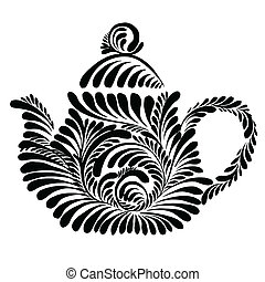 decorative silhouette teapot - vector, artistic, decorative...