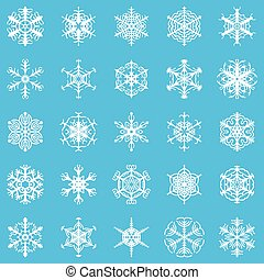 Decorative snowflakes set on blue background