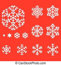 Decorative snowflakes set on red background