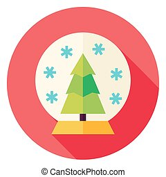 Decorative Snowglobe with Christmas Tree Circle Icon