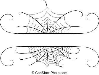 Decorative spider web border - Abstract decorative spider...