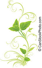 Decorative sprig with leaves isolated on the white. Vector...