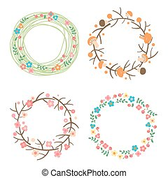 Decorative spring, autumn, summer wreaths. Seasonal concepts...