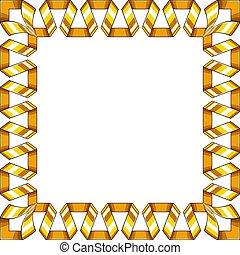Decorative square frame of golden spiral ribbon. Vector