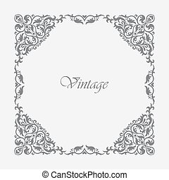 Decorative square frame vintage style for greeting, invitation, announcement