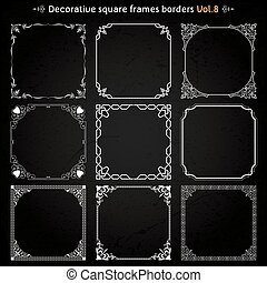 Decorative square frames and borders set 8 vector