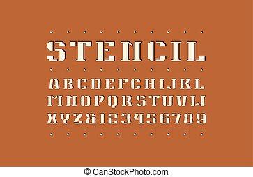 Decorative square stencil-plate serif font