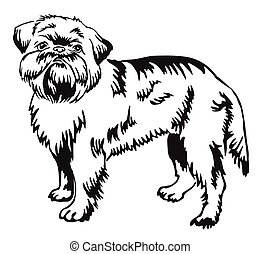 Decorative standing portrait of Brussels Griffon vector illustration