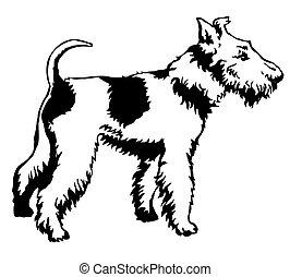Decorative standing portrait of dog Fox Terrier, vector illustration