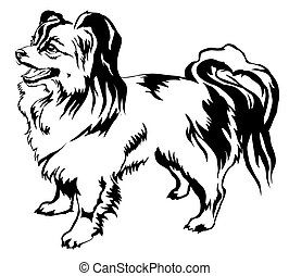 Decorative standing portrait of dog Papillon vector illustration