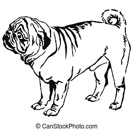 Decorative standing portrait of dog pug vector illustration