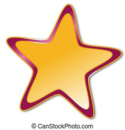 Decorative star with dark red and golden frame