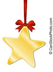 Decorative star with red bow