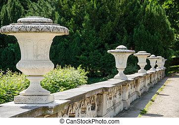 Decorative stone fence in a park in Potsdam, Brandenburg,...