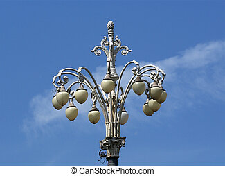 Decorative street lamp in the center of Moscow, Russia
