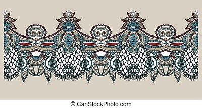 decorative stripe pattern, paisley floral design, vector...