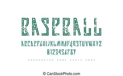 Decorative striped narrow sans serif font in sport style