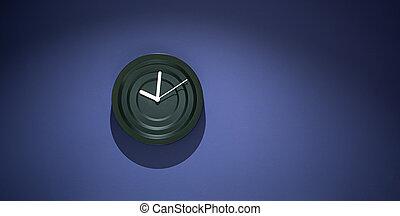 Decorative stylish modern black clock on a blue wall.
