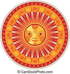 Decorative Summer Mandala - Concentric decorative summer...