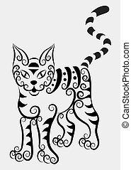 Decorative tabby cat
