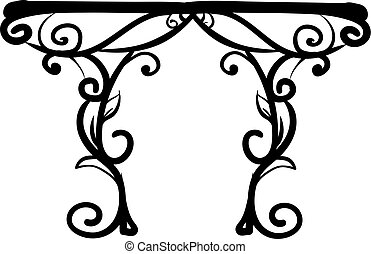 Decorative table, illustration, vector on white background.