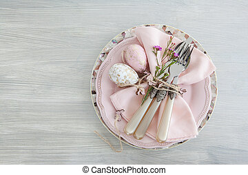 Decorative table setting for easter