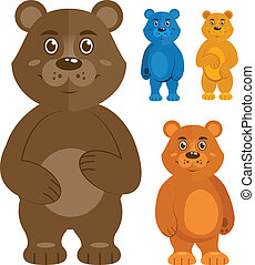 Decorative teddy bears icons set