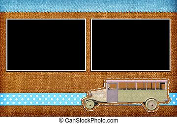 Decorative template with photo frames. Scrapbook, photobook...