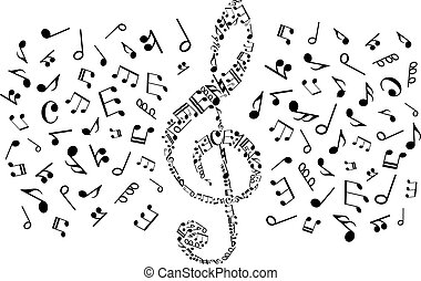Decorative treble clef with musical notes, symbols -...