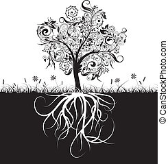 Decorative tree and roots, grass, vectorr illustration