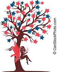 Decorative tree silhouette fairy