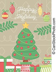 decorative tree with balls star gifts branches celebration happy holiday poster