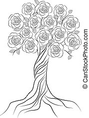 Decorative tree with flowers isolated on white background.