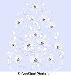 Decorative tree with orchid flowers